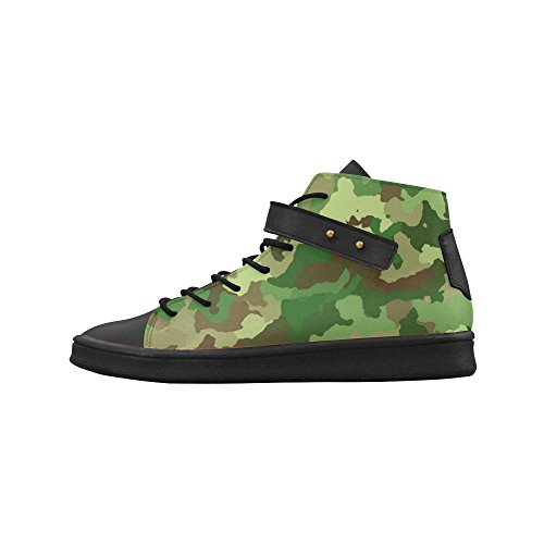 D-Story Round Toe High Top Shoes Camouflage Green Womens Sneakers GhMeYSR4