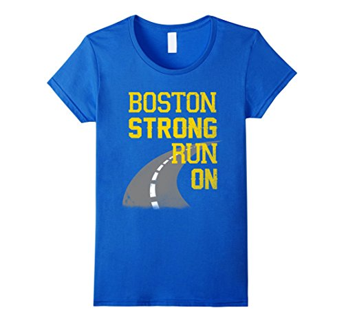 Women's Boston Strong Run On Shirt Small Royal Blue (Marathon Tshirt)