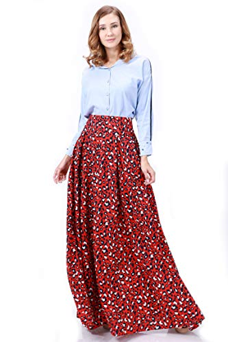 Tov Leopard Printed Wide Waistband Pleats Long Skirt Red
