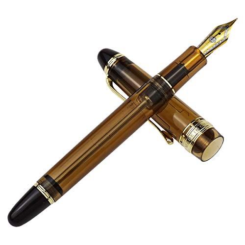 Wing Sung 699 Vaccum Filling Fountain Pen Medium Nib, Brown Translucent Acrylic Paper Box Set