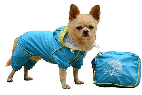 La vogue Raincoat Chubasquero Abrigo Impermeable Para Perro Mascota Con Capucha (Talla 1, Azul)