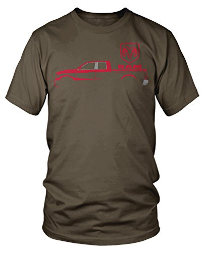 2500 Chocolate - Amdesco Men's Ram Trucks, Red Truck Silhouette T-Shirt, Dark Chocolate Small