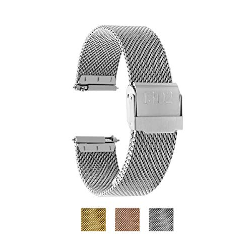 Women's Watch Strap, Quick Release Watch Strap, Women's Stainless Steel Watch Band, Replacement Watch Strap, Women's Mesh Watch Band, 18mm Watch Strap, 14mm Watch Strap (18mm, Silver)