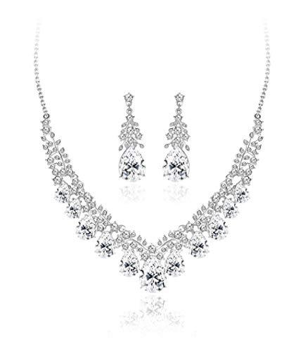 YADOCA Crystal Bridal Necklace Earrings Set Wedding Teardrop Cluster Necklace Drop Dangle Earrings for Women Bridesmaid Costume Formal Dress Jewelry Set