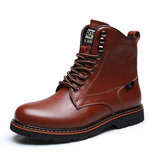 - Giles Jones Men's Motorcycle Boots Autumn Winter Lace-up Comfort Non-Slip Combat Boots