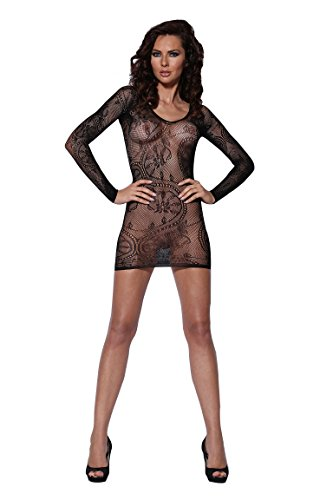 Women's Sleeved Seamless Floral Lace Net Mini Chemise Dress Lingerie (Black) ()