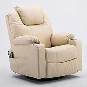 MCombo 8031 Modern Massage Recliner Vibrating Sofa Heated Electric Leather Lounge Chair, Creme White