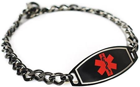 My Identity Doctor – Custom Engraved Medical Alert Bracelet 316L Steel, Black 5mm