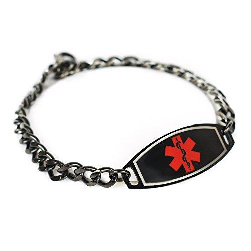 My Identity Doctor - Men's Custom Engraved Medical Alert Bracelet - 316L Steel, Black - Red, Black (Blood Pressure On Left Or Right Arm)