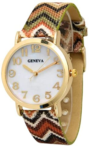Women's Geneva Chevron Style Leather Watch - Brown/Gold (Brown Leather Geneva Watch)