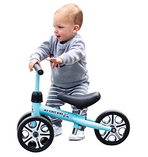 MY FIRST BIKE New 2019 with Adjustable Height Seat and Handlebars Baby Balance Bike for Toddlers Age 12-48 Months Toddlers First Birthday Ride on Walking Trainer ... (Blue)