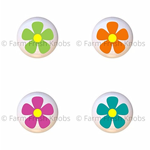 SET OF 4 KNOBS - Cool Lime Green Orange Pink Turquoise Flower - Funky Flowers Cool Colors - DECORATIVE Glossy CERAMIC Cupboard Cabinet PULLS Dresser Drawer KNOBS Green Color Drawer Pulls Knobs