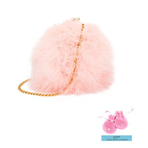 Zarapack Women's Genuine Fluffy Feather Fur Round Clutch Shoulder Bag (Fur Genuine Handbag)