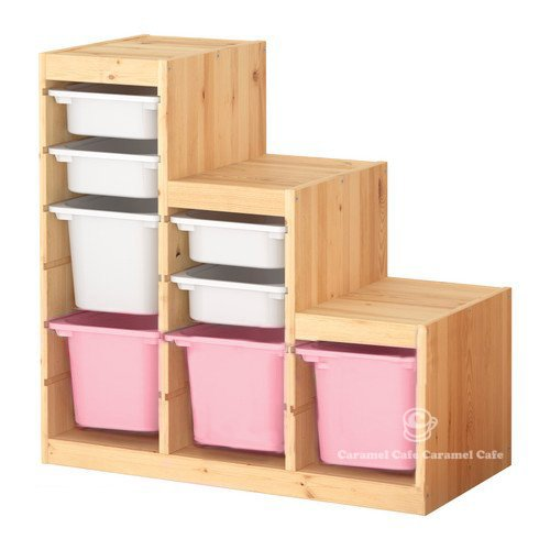 IKEA TROFAST(トロファスト)収納コンビネーション パイン材 ホワイト/ピンク 94x44x91 cm PK-WS4WM1P3 B0192X5E8I