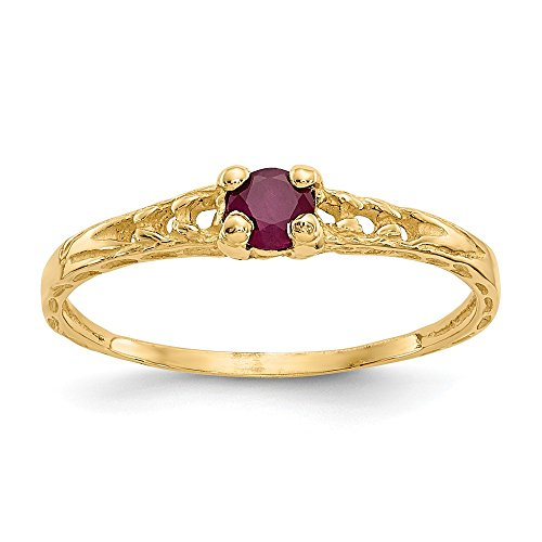 14k Yellow Gold 3mm Red Ruby Birthstone Baby Band Ring Size 3.00 July Fine Jewelry Gifts For Women For Her ()