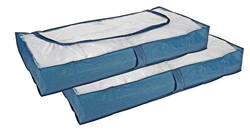 2er Set Unterbettkommode blau 103cm Aufbewahrung Unterbettbox