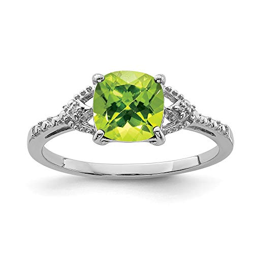 925 Sterling Silver Diamond Green Peridot Band Ring Size 6.00 Gemstone Fine Jewelry Gifts For Women For Her