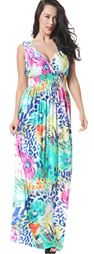 Jusfitsu Women\'s V-neck Floral Printed Beach Boho Maxi Dress Plus Size