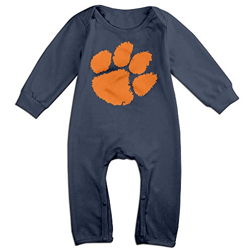 HOHOE Boy's & Girl's Clemson Claw Logo University Long Sleeve Bodysuit Outfits 24 Months