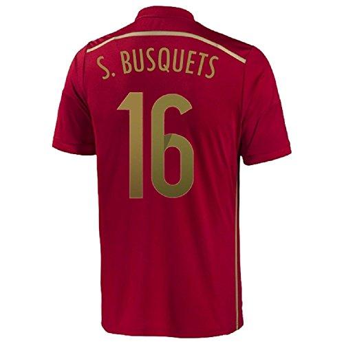 カカドゥ保守可能結婚Adidas S. Busquets #16 Spain Home Jersey World Cup 2014/サッカーユニフォーム スペイン ホーム用 ワールドカップ2014 背番号16 S.ブスケツ
