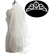 Belle House Women's Bridal Veils and Crown Ribbon Edge with Comb for Girls