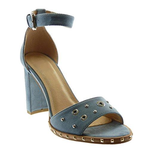 Angkorly Damen Schuhe Sandalen - Knöchelriemen - Perforiert - Nieten - Besetzt - String Tanga Blockabsatz High Heel 8.5 cm Blau