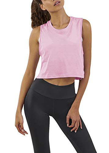 Activewear Sleeveless Tees - Bestisun Crop Yoga Top Workout Junior Girl Shirts Cute Summer Sleeveless Racerback Sport Gym Fitness Stretchy Tank Top Pink XL