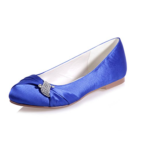 Toe Blue and Clearbridal 22 Shoes Women's ZXF9872 With Round Prom Crystal Wedding Flat Satin Shoes E0qUSFq6w