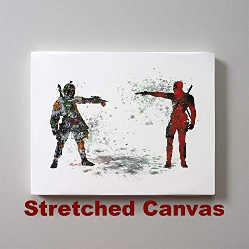 Star Wars Deadpool vs Boba Fett Bounty Hunter 11 x 14 inches Stretched Canvas Print