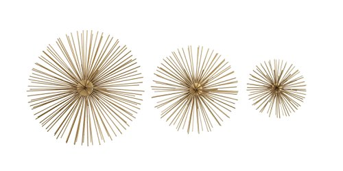 Deco 79 50370 Metallic Gold Starburst Metal Wall Decor, 3D Wall Art, Modern Wall Decor, Gold Orbs for Wall, Gold Decor, Decorating Ideas | Set of 3: 12