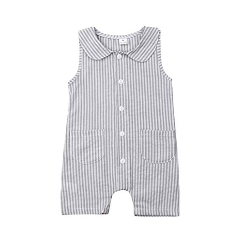 Seyurigaoka One Piece Outfits Baby Grey Striped Rompers with Button Kids Sleeveless Playsuit Jumpsuits Pants Cotton Clothing(6-12M) -