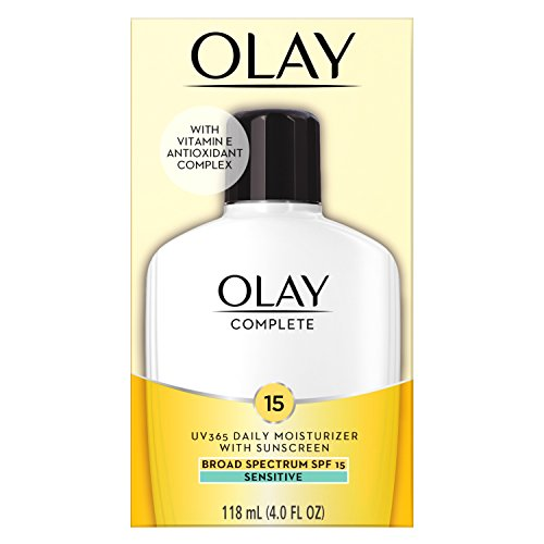 Face Moisturizer by Olay Complete All Day Moisturizer with Sunscreen, Broad Spectrum with SPF 15, Sensitive, 4 fl oz.