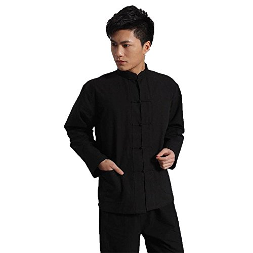 66c4c3393ed4 Hand-Made Veste Traditionnelle Chinoise Noir Kung Fu Tai Chi Uniforme  Chemise  S-
