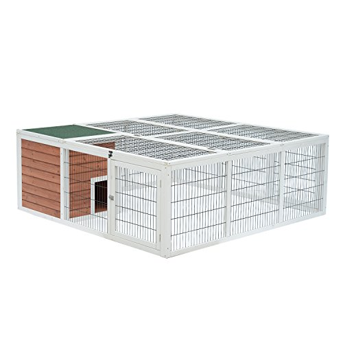 PawHut 64'' Wooden Outdoor Rabbit Hutch with Run and Mesh Cover - Black/Brown/White