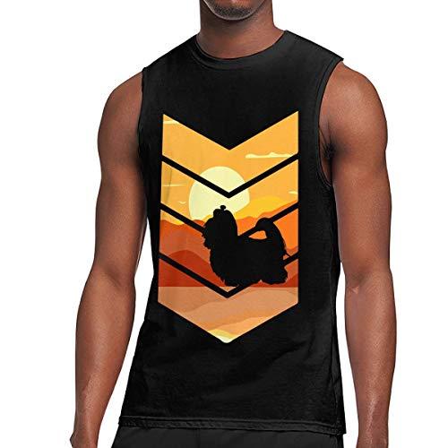 Mens Vintage Retro Maltese Dog Sleeveless T-Shirt Cotton Exercising Muscle T-Shirts Black