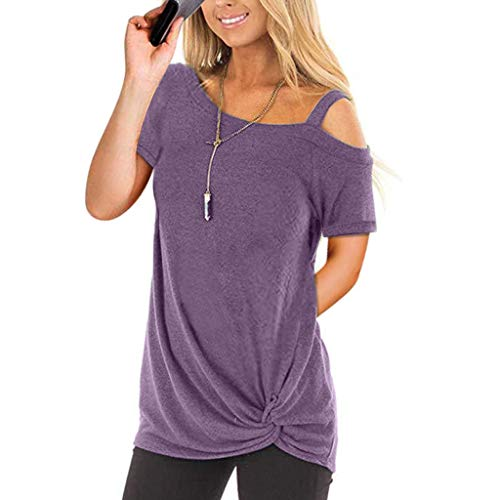 Short Sleeve T-Shirt Fzitimx Hot New Summer Women Cold Shoulder Sleeveless High Low Pure Color T-Shirt Tops