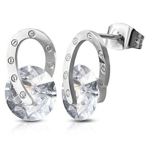 Stainless Steel Tension-Set Circle Twisted Oval Stud Earrings w/ Clear CZ (pair) - BEL801 (Oval Tension Set Ring)