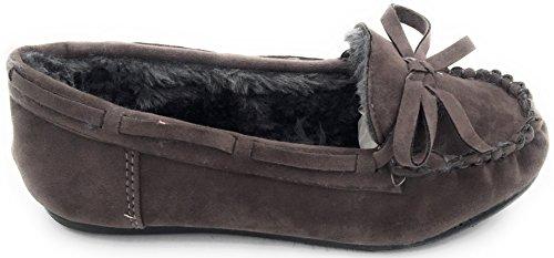 Ragazze Bambini Caldo Inverno Confortevole Mocassino In Pelliccia Punta Tonda Slip On Flat Shoe Grey