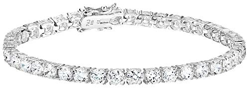 Amazon Essentials Platinum Plated Sterling Silver Round Cut Cubic Zirconia Tennis Bracelet (4mm), 7