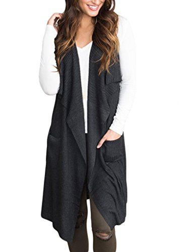 Sidefeel Women Sleeveless Open Front Knitted Long Cardigan Sweater Vest Pocket X-Large Black