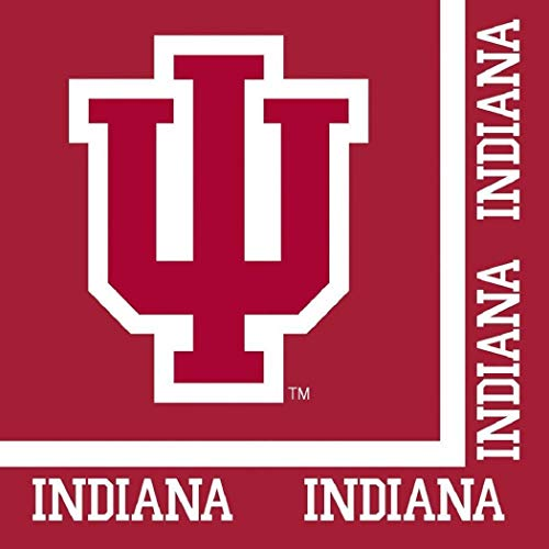 Indiana Hoosiers NCAA Napkins Football Sports Themed College University Party Supply Napkins for Beverage for 20 Guests Red White Color Paper Napkins