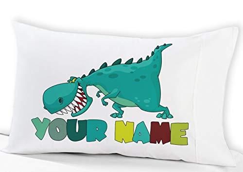 Personalized Cute Dinosaur Boys Pillow Case - (Standard Size 20X30 Birthday Gift idea for Boys Kids Room Decor