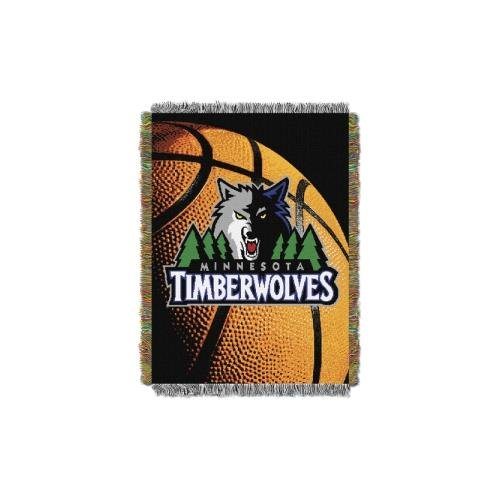The Northwest Company Officially Licensed NBA Minnesota Timberwolves Photo Real Tapestry Woven Throw Blanket, Blue, 48 x 60 -