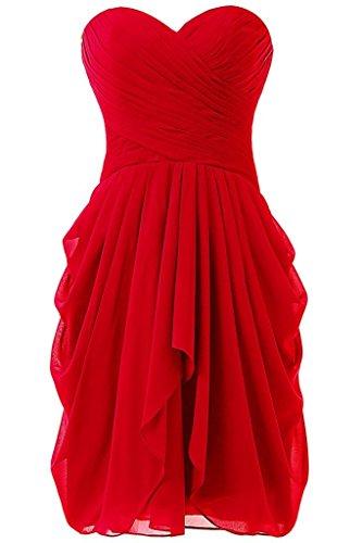 Trägerloses Damen CoutureBridal® Rot Kleid Abendkleid Chiffon Kurzes Cocktailkleider OaxwPqI6x