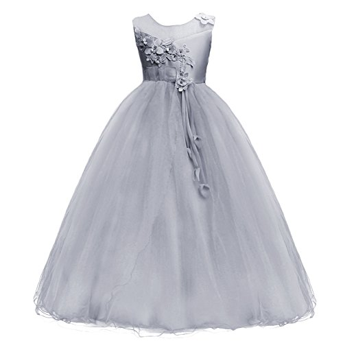 Kids Girls Princess 5-16T Christmas Party Tulle Lace Flower Pageant Dress Floor Length Wedding Bridesmaid Long Holiday Evening Dance Maxi Ball -
