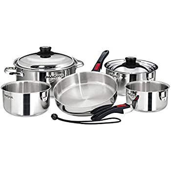 Magma Grills A10-366-Cb 10 Pc Stainless Nesting Cookware Cobalt Blue Enamel