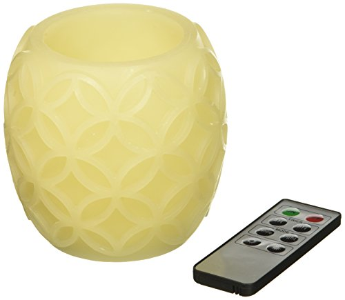 Flameless LED Candles with Remote, Ivory Carved Wax Candle Set with Warm White Glow, Set of 3 - Batteries Included