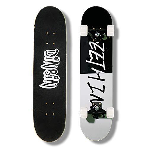 DINBIN Skateboard – 31″ x 8″ Complete Pro Skateboard – Double Kick Skateboards for Adults 7 Layer Canadian Maple Wood Tricks Skateboard