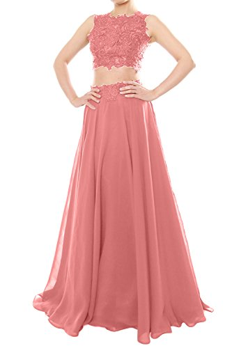 Formal Neck Prom Zartrosa Women Two Lace Piece Long Party Gown Dress Chiffon MACloth High wpOvqIxASA