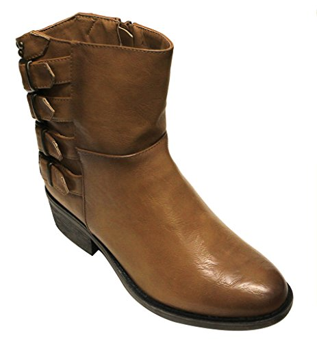 Bumper Harper-02 Womens almond toe crossing buckle rear straps side zip ankle boots Camel WAZuygJw